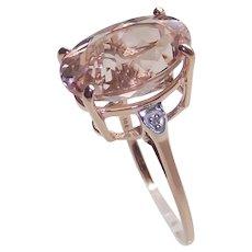 Morganite Ring 5.5 Caret Stone set in 10 Kt Rose Gold