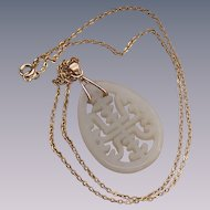 Vintage Carved Water Jade Pendant with a Gold Fill Chain