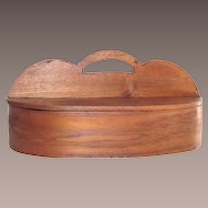 Antique Cutlery Caddy Hand Made Oak Splint  c. 1855-60