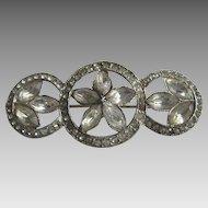 Vintage Art Deco Paste Stone Three Circles Bar Pin Brooch 1920's