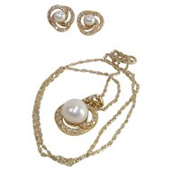 Demi Parure Faux Pearl and CZ's Pendant and Earrings