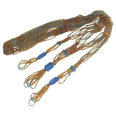 Beaded  Flapper Necklace 1920's  Azure Blue and Sunflower Gold Glass Beads
