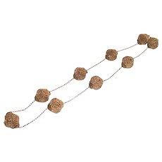 Vintage Gold Tone Filigree Repousse Balls on Fine Chain Link Fashion Necklace