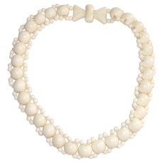 Mid Century Carved Cream Color Resin Bead Necklace in a Choker Style