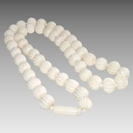 Vintage Mid Century Carved Cream Color Resin Bead Necklace