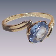 Vintage Sky Blue Topaz Set in 10 Kt Yellow Gold Bypass Design Ring size Seven