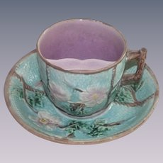 Vintage Majolica Rose and Rope Mustache Cup and Saucer