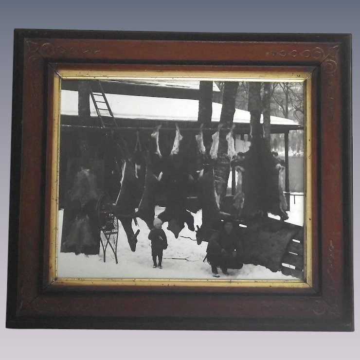 Real Photo Hunting Lodge Father & Son Many Animals Hanging - Bear ...
