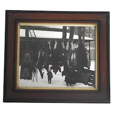 Real Photo Hunting Lodge Father & Son Many Animals Hanging - Bear Deer Rabbits  1930s