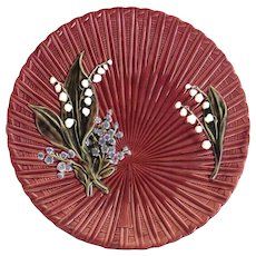Majolica Lily of the Valley Master Cake Plate by Schramberg - Red Tag Sale Item