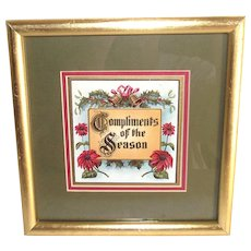 Compliments of the Season Holiday Card Framed