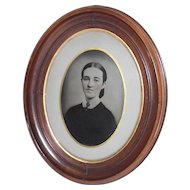 Deep Oval Walnut Frame with Full Page Hand Tinted Tin Type  Circa 1850 Wedding Photo Frame