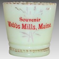 EAPG Custard Glass Toothpick Holder Souvenir Webbs Mills, Maine Victorian