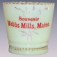 EAPG Custard Glass Toothpick Holder Souvenir Webbs Mills, Maine Victorian