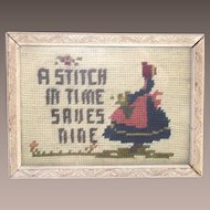 """A Stitch in Time Saves Nine""  Framed Needle Point"
