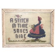 """""""A Stitch in Time Saves Nine""""  Framed Needle Point"""