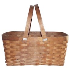 Vintage  Gathering Basket with Swing Handle Splint Construction