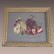 Fruit Needlepoint Framed in  Victorian Gold Gilt Frame