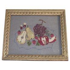 Fruit Needlepoint Framed in  Victorian Gold Gilt Frame