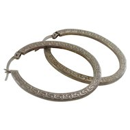 Vintage Greek Key Design Sterling Silver Oval Hoop Earrings
