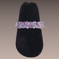 Vintage Sterling Band Ring with Pink and Clear CZ's