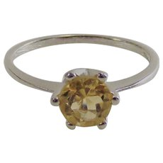 Canary Yellow Round CZ Ring set in Sterling Silver