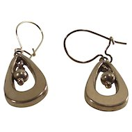 Vintage Gold Tone Teardrop Earrings with Center Dangle