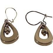 Vintage Gold Tone Teardrop Earrings with Center Dangle