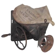 """Vintage Farm Broadcast Seed Sower with Hand Crank  """"The Cahoon"""" by Goodell Comp. Amherst N.H. 1861 Patent"""