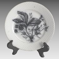 Vintage Flow Blue Transfer Dessert Plate with Strawberries by Maastricht