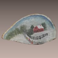 Folk Art Painting of Children on Sled Walking up an Icy Road   Fungas Art