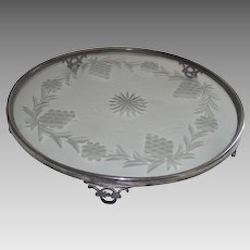 Art Deco Silver Plateau Toronto Silver Plate with Glass Center an Elegant Wedding Gift