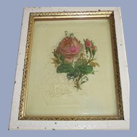 Pink Moss Roses Hand Painted on Celluloid Book Cover  Framed