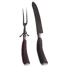 Vintage Horn Carving Set Knife and Fork