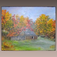 Vintage Vermont Sugar House Oil on Board Signed and Dated Ross Davis