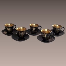 Vintage Japanese Lacquerware Mid-Century Demi Tasse Cups and Saucers 5 Sets