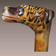 Antique Childs Walking Stick with Tigers Head