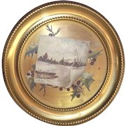Victorian Oil Painted Winter Scene Cottage with Woods and Pond on a Brass Flue Cover