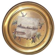 Hand Painted Oil Winter Scene On Flue Cover