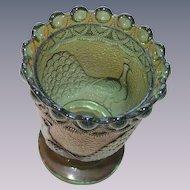 Vintage Green Carnival Glass Peacock Open Sugar or Spooner