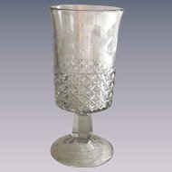 Vintage EAPG Celery Glass Mascotte and Minor Block with Machine Etching