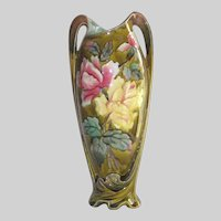 """Victorian 15"""" Tall French Majolica Vase Art Nouveau Stunning"""