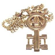 Vintage Fleur De Lis Key Pendant
