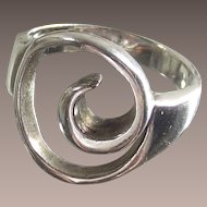 Vintage Sterling Silver Artist Hand Made Ring  Swirl Design