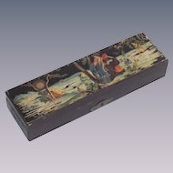Vintage Japanese Paint and Brush Box with Garden Scene and Geishas  Not Lacquered