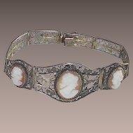 Vintage 3 Carved Shell Cameos Bracelet Gold Gilt over 800 Silver Filigree