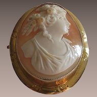 Antique Carved Shell Cameo 10 Kt Yellow Gold