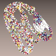 Vintage Mid-Century Multi Colored Seed Bead Necklace with Big Fun Tassel