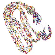 Vintage Mid-Century Multi Colored Seed Bead Necklace with Big Fun Tassel