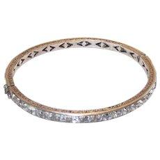 Vintage Art Deco Sterling Bangle Bracelet with Clear Crystal Channel Set Stones - Red Tag Sale Item